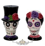 Day Of The Dead Sugar Skulls Salt and Pepper Set Cruet Set.  só - bors szóró