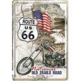 ROUTE 66 - Old trails road.  fém képeslap