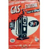 GAS STATION -  Metal Sign.  20X30.cm. fém tábla kép