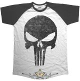 Punisher - Jagged Skull. . Marvel Comics Men's Raglan Tee.  filmes, movie  póló