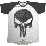Punisher - Jagged Skull. . Marvel Comics Men's Raglan Tee.  filmes, movie  póló