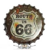 ROUTE 66 - CLASSIC LOGO.  Bottle Cap Tin Sign Cafe Bar Pub Metal Art Poster. 14. cm. kerek fém tábla kép