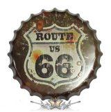 ROUTE 66 - CLASSIC LOGO.  Bottle Cap Tin Sign Cafe Bar Pub Metal Art Poster. 14. cm. kerek fém tábla kép