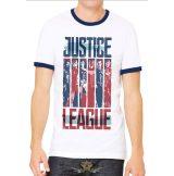 JUSTICE LEAGUE MOVIE - STRIPS Ringe. r WHITE.  filmes  póló