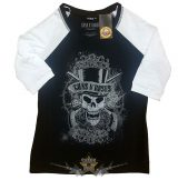 Guns N' Roses - Ladies Raglan Tee.  Faded Skull  női póló