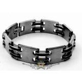 Stainless Steel.  2 SOR külön Black Silicone karkötő, NAGY FÉM LAPKÁKKAL. 22x1.cm. CT.  karkötő