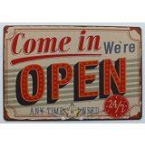 Come In We're Open - Metal Tin Sign.  20X30.cm. fém tábla kép