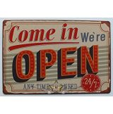 Come In We're Open - Metal Tin Sign.  20X30.cm. fém tábla kép