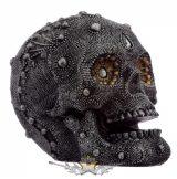 Díszkoponya - Ezüsttel díszített koponya.  koponya figura,