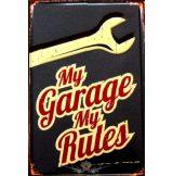 GARAGE -  MY GARAGE MY RULES.  20X30.cm. fém tábla kép
