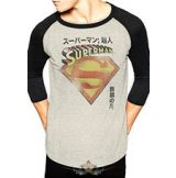 SUPERMAN - JAPANESE 3-4 Baseball Shirt WHITE . import filmes  póló