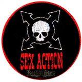 SEX ACTION - LOGO.  zenekaros felvarró
