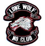 LONE WOLF - NO CLUB   hátfelvarró