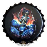 SKULL DRUMMER - Bottle Cap Tin Sign Cafe Bar Pub Metal Art Poster Wall Plaque. kerek fém tábla kép