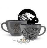 GAME OF THRONES (STARK) CAPPUCCINO MUG AND STENCIL.  korsó, kehely, 3D bögre