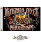 Bikers Only Saloon - Ride fast - Live hard.  zászló