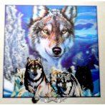 WOLF FAMILY - 3D. 42.cm. nagy méretű 3D fali kép.