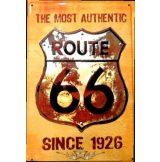 ROUTE 66 - THE MOST AUTHENTIC - SINCE 1926.  20X30.cm. fém tábla kép