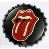 ROLLING STONES - Bottle Cap Tin Sign Cafe Bar Pub Metal Art Poster. 22. cm. kerek fém tábla kép