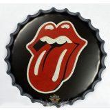 ROLLING STONES - Bottle Cap Tin Sign Cafe Bar Pub Metal Art Poster. 22. cm. kerek fém tábla kép