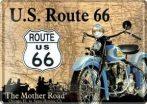 ROUTE US 66 - MAP 10x14.cm. képeslap fém