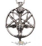 Baphomet * Inverz pentagram. goat head medál.  nyaklánc, medál