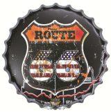 ROUTE 66 - CLASSIC LOGO USA.  Bottle Cap Tin Sign Cafe Bar Pub Metal Art Poster Wall Plaque. kerek fém tábla kép