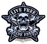 LIVE FREE - RIDE FREE. hátfelvarró