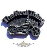 THE REAL THING . KGJ.  nagyméretű fém motoros jelvény