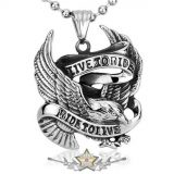 Live To Ride - Necklace Pendant For Biker Rider Titanium HD Jewelry BP8-045    nyaklánc, medál