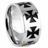 Stainless Steel Iron Cross Ring. Steel. gyűrű